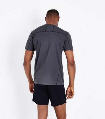 Grey Mesh Short Sleeve Sports T-Shirt New Look