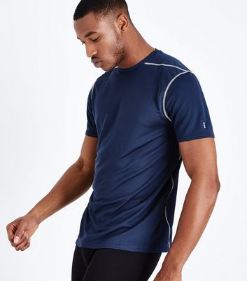 Navy Mesh Sports T-Shirt New Look