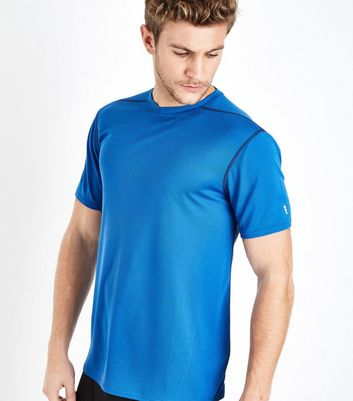 Bright Blue Mesh Short Sleeve Sports T-Shirt New Look