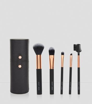 Black Cylinder Case Brush Set New Look