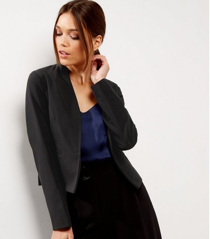 e54ff9671 Black Cropped Open Front Jacket