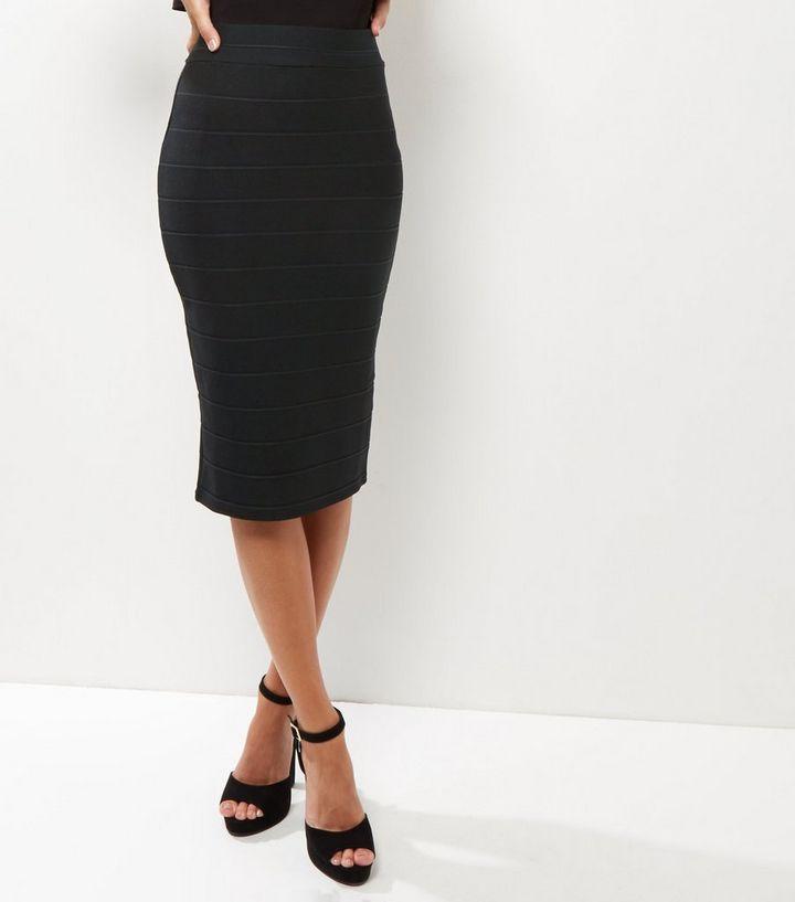 Black Bandage Pencil Skirt New Look
