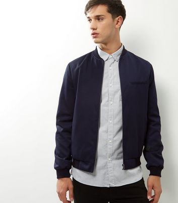 Navy Single Pocket Tailored Bomber Jacket New Look