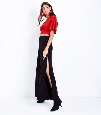 Red Cape Sleeve Wrap Front Crop Top New Look