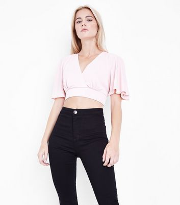 Mid Pink Cape Sleeve Wrap Front Crop Top New Look