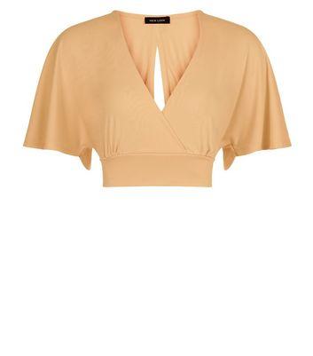 Mustard Cape Sleeve Wrap Front Crop Top New Look