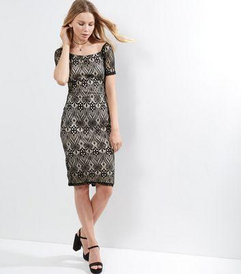 AX Paris Black Lace Bardot Neck Dress New Look