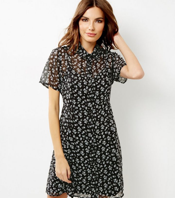 295e26f9410 Black Floral Print Tie Back Shirt Dress Add to Saved Items Remove from  Saved Items