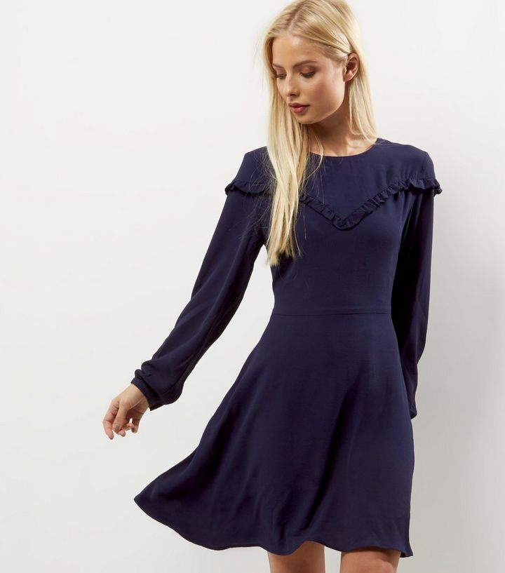 475caf7eb6a56 Navy Frill Trim Long Sleeve Skater Dress Add to Saved Items Remove from  Saved Items