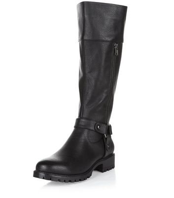 Black Knee High Biker Boots | New Look