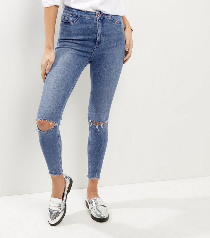 15f2b3988 Blue Ripped Knee High Waist Skinny Hallie Jeans   New Look