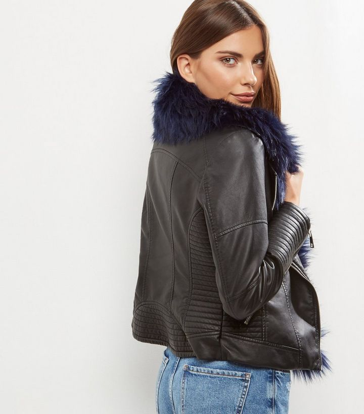 d2c4990275383 Home · Black Faux Fur Trim Leather-Look Biker Jacket. ×. ×. ×. Shop the look
