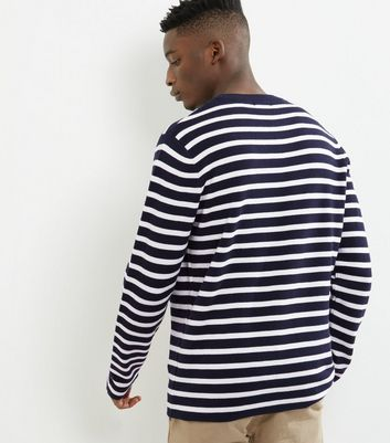 Navy Stripe Crew Neck Jumper New Look