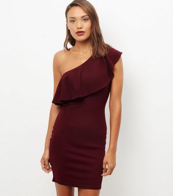 Burgundy Off The Shoulder Frill Trim Bodycon Dress New Look