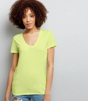 Yellow Scoop Neck Short Sleeve T-Shirt New Look