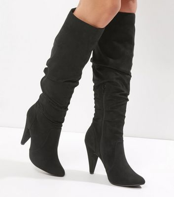 Black Suedette Ruched Top Knee High