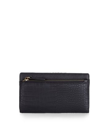 Black Snakeskin Texture Frame Purse New Look