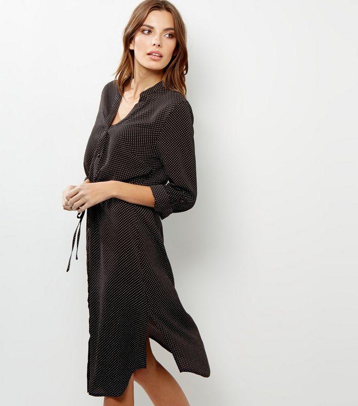 930f78f368c Black Polka Dot Print Drawstring Waist Shirt Dress