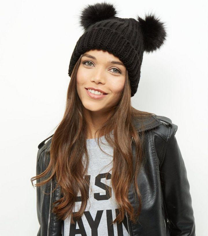 eb5c5c419aafe Black Double Faux Fur Pom Pom Beanie Hat