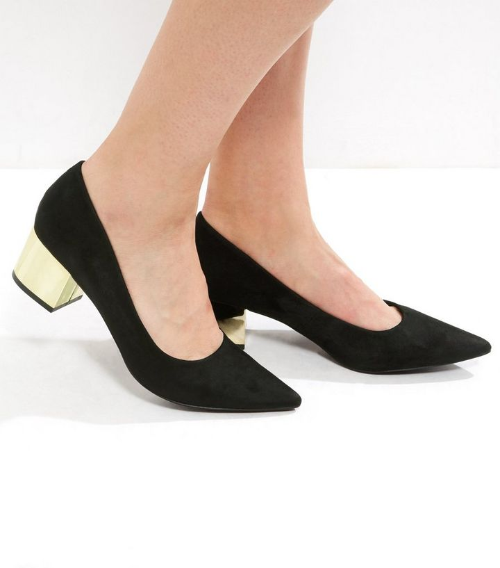 21d16a3be21 Black Suedette Metal Block Heel Pointed Court Shoes
