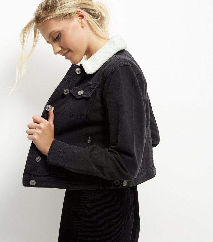 low priced 370f7 00589 Parisian Black – Schwarze Jeansjacke mit Teddyfutter Für später speichern  Von gespeicherten Artikeln entfernen