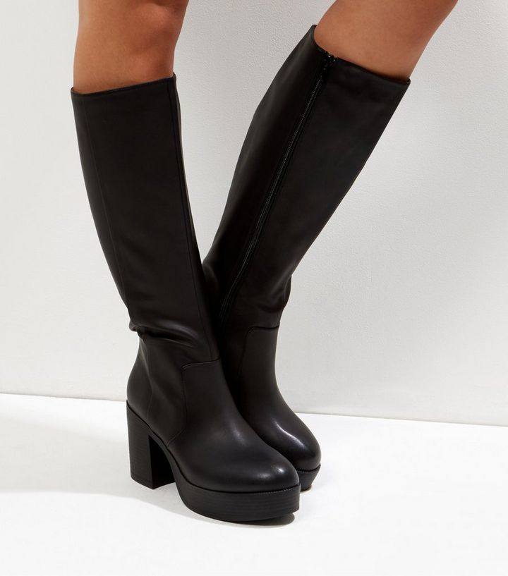 b437710a1f50 Black Chunky Platform Knee High Boots