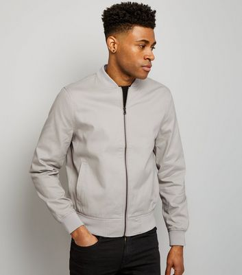 Stone Cotton Bomber Jacket New Look