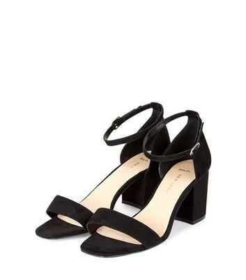Wide Fit Black Suedette Ankle Strap Block Heels New Look