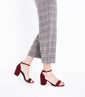 Wide Fit Burgundy Suedette Square Toe Sandals New Look