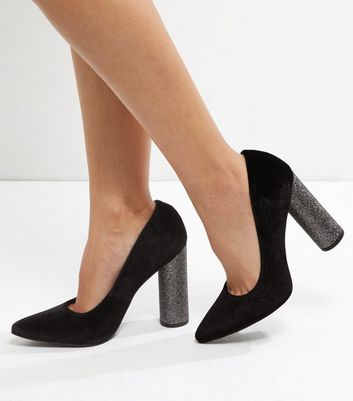 Wide Fit Black Velvet Glitter Block
