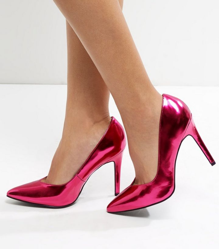 b533017ab206 Wide Fit Bright Pink Metallic V Throat Toe Court Shoes