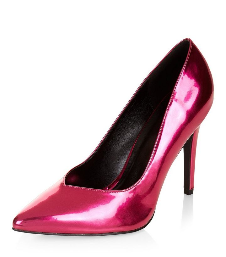 9a71f97401ef ... Wide Fit Bright Pink Metallic V Throat Toe Court Shoes. ×. ×. ×. VIDEO  Shop the look
