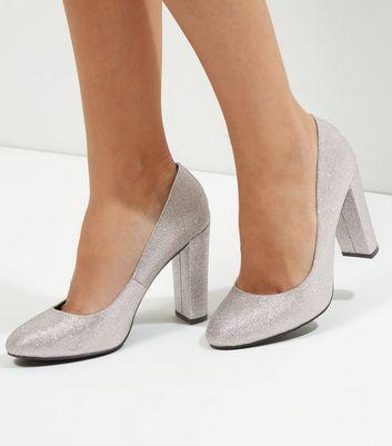 Wide Fit Silver Glitter Block Heel