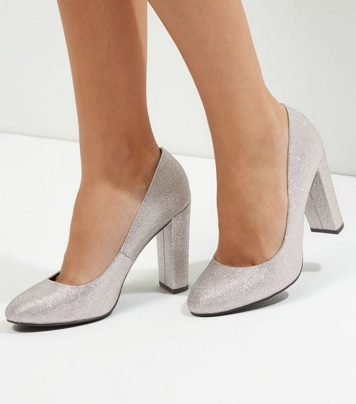 6a8eb17f6af Wide Fit Silver Glitter Block Heel Court Shoes