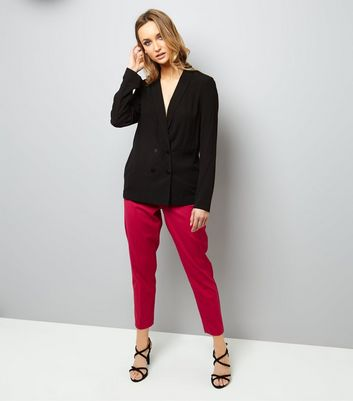 Black Crepe Button Front Blazer New Look