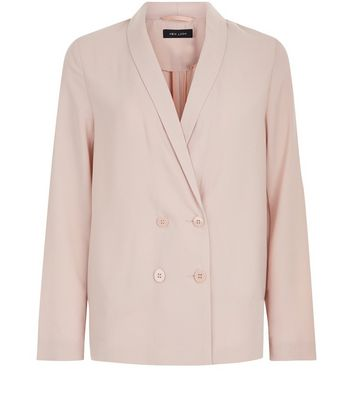 Shell Pink Crepe Button Front Blazer New Look