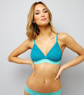 Petrol Blue Lace Contrast Band Bralet New Look