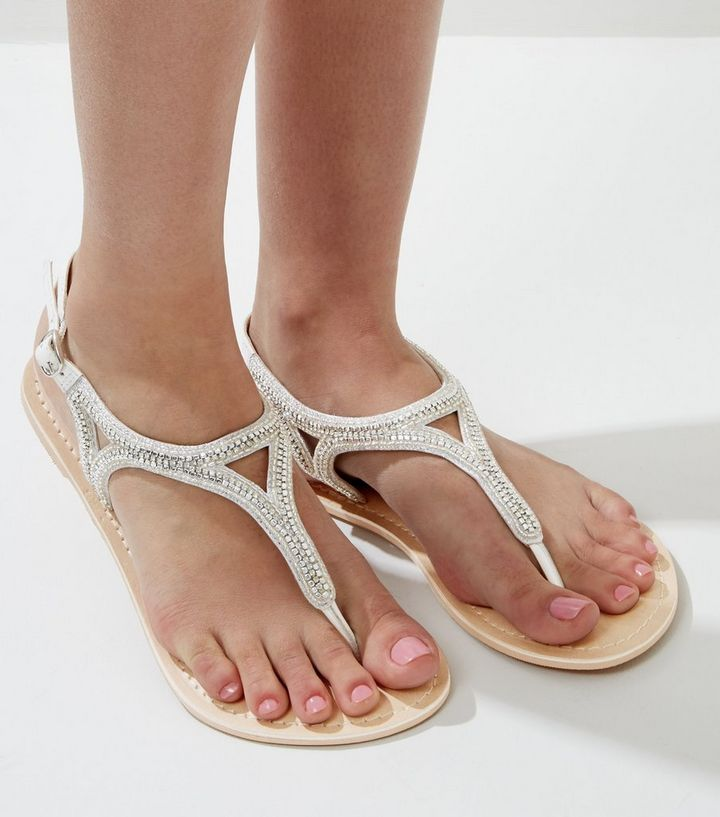 68180cc91d998 Wide Fit White Leather Embellished Toe Post Sandals