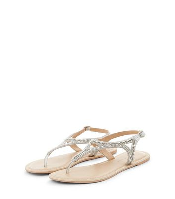 Wide Fit White Leather Embellished Toe