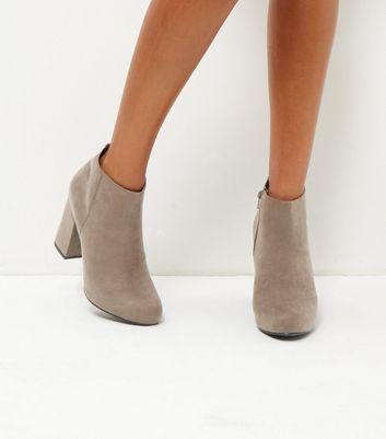 Grey Suedette Block Heel Ankle Boots