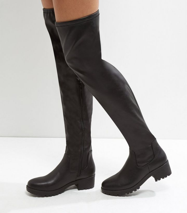 0da205fe48f Black Chunky Cleated Sole Over The Knee Boots