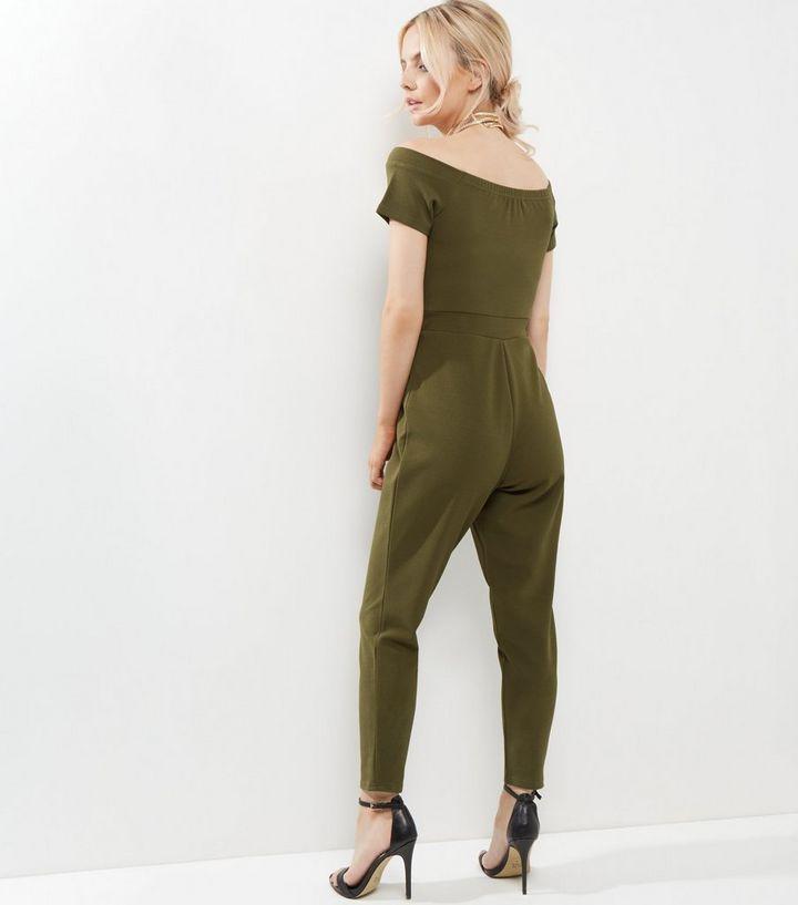 08119772ebb Petite Khaki Bardot Neck Jumpsuit