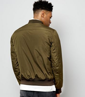 Khaki Pocket Sleeve Bomber Jacket New Look