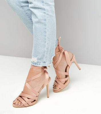 Wide Fit Nude Pink Satin Tie Up Strappy Heels New Look