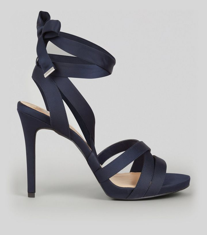 ca63dcfa97d Wide Fit Navy Satin Tie Up Strappy Heels