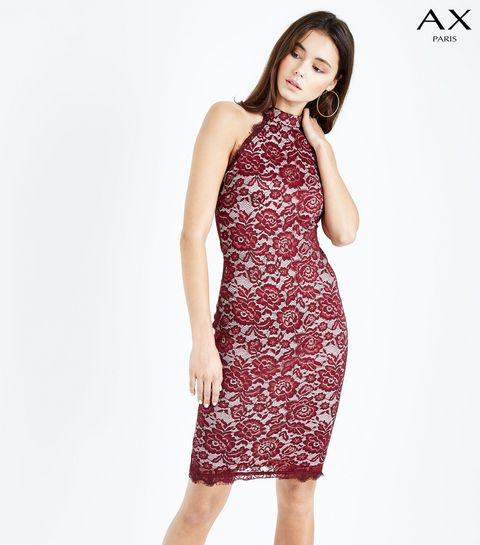 e3bbd3a4bed ... AX Paris Red Lace High Neck Bodycon Dress ...