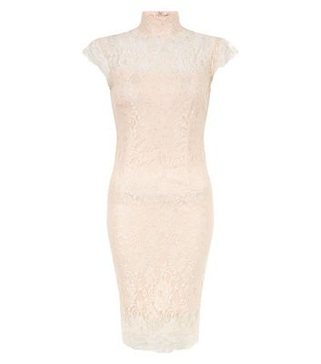 AX Paris Shell Pink Lace Funnel Neck Sleeveless Dress New Look