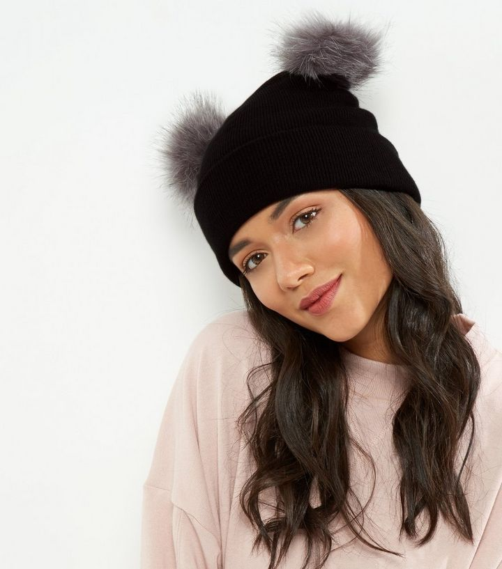 6154efb1be9 Black Faux Fur Pom Pom Beanie