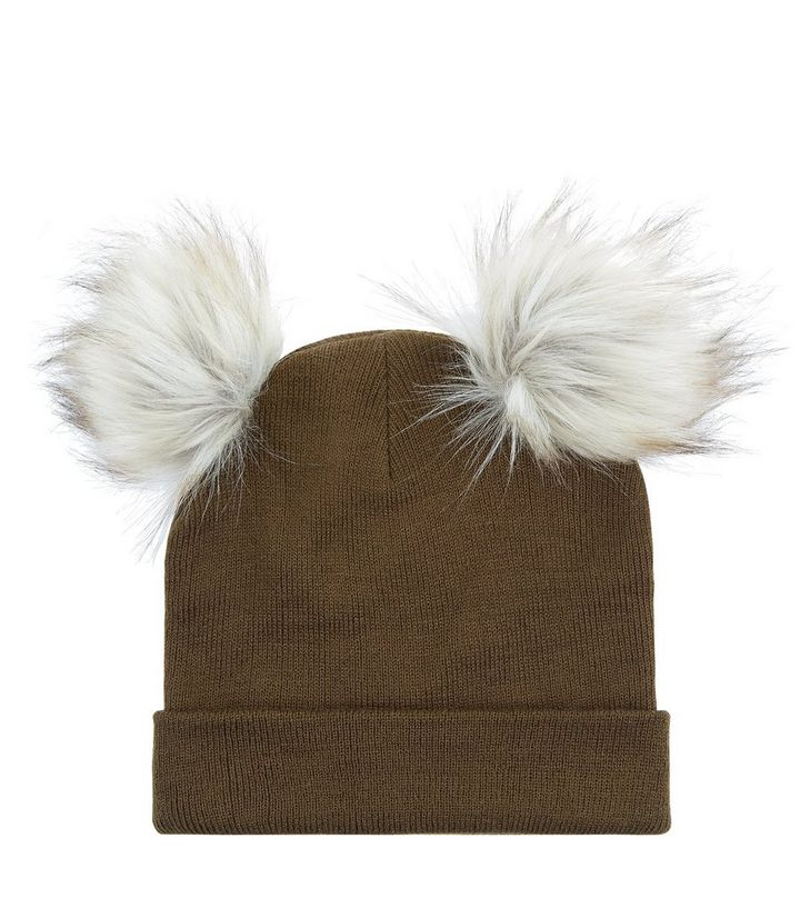Khaki Faux Fur Pom Pom Beanie  2e8945eb459