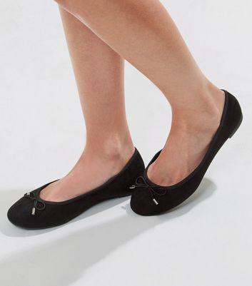 434ab313a9e Black Suedette Bow Ballet Pumps